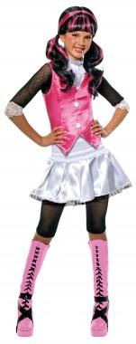 Monster High-Draculaura - Shirt+Rock+Leggings - schwarz, weiß, pink - Kinder Kostüm - 3 Teile - Rubie's