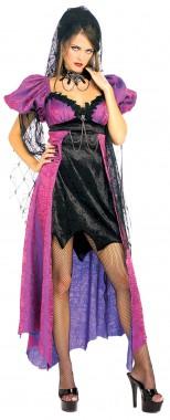 Spider Widow - Kleid+Schleier+Spinnenbrosche - schwarz, lila - Kostüm - 3 Teile - Rubie's