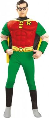 Robin - Deluxe Muskeloverall+Maske - Kostüm - 4 Teile - Rubie's
