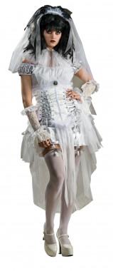 White Goth Female - Kleid+Taillencorsage+Schleier - weiß, schwarz - Kostüm - 3 Teile - Rubie's