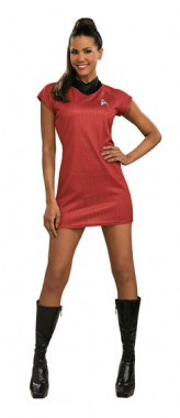 Star Trek - Uhura Dress Rot - Deluxe Kleid+Emblem - Kostüm - 1 Teil - Rubie's
