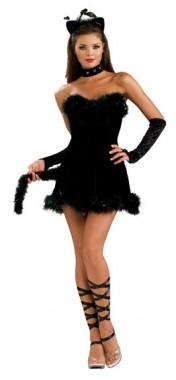 Sexy Katze - Kleid+Armstulpen+Halsband+Katzen-Haarreif -  Kostüm - 4 Teile - Rubie's