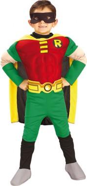 Robin - Kids-Muskeloverall+Maske - Kinder Kostüm - 4 Teile - Rubie's