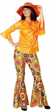 Schlaghose Crazy - pink/grün, orange/gelb - Kostüm - 1 Teil - Orlob Karneval
