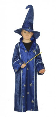 Zauberer - Robe+Hut - Kinder Kostüm - 2 Teile - Rubie's