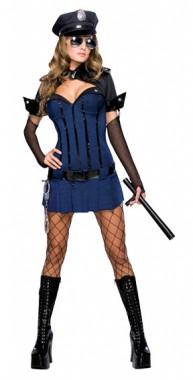 Sexy Polizistin Nachtwache - Kleid+Bolero+Mütze+Armstulpen - Kostüm - 4 Teile - Rubie's