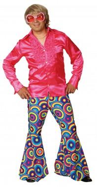 Schlaghose Crazy - blau, pink/grün - Kostüm - 1 Teil - Orlob Karneval