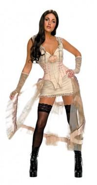 Jonah Hex - Sexy Lilah Weiß - Kleid+Handschuh - Kostüm - 2 Teile - Rubie's