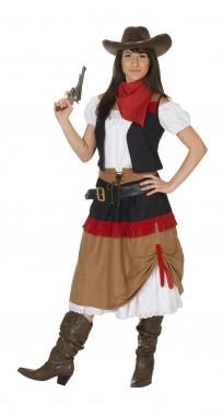 Cowboy Frau - Rock+Bluse+Weste - Kostüm - 3 Teile - Rubie's
