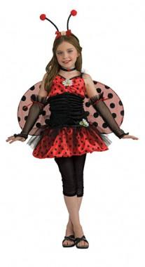 Marienkäfermädchen - Kleid mit Leggins+Flügel+Haarreif+Halsband+Armstulpen - Kinder Kostüm - 6 Teile - Rubie's