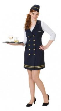 Stewardess - Kleid+Schiffchen - Kostüm -2 Teile - Rubie's