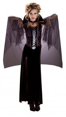 Midnight Vampira - Kleid+Cape+Halsband - schwarz, lila - Kostüm - 3 Teile - Rubie's