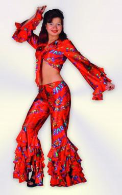 Lady Karneval - Oberteil+Hose - rot, blau - Kostüm - 1 Teil - Fries