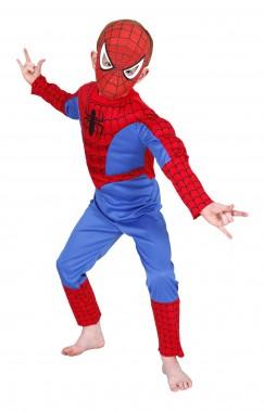 Spiderman-Deluxe - Overall+Maske - blau, rot - Kinder Kostüm - 2 Teile - Rubie's