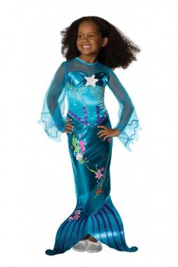 Zauberhafte Blaue Meerjungfrau - Kleid - Kinder Kostüm - 1 Teil - Rubie's
