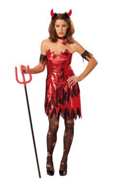 Sexy Teufelin Halloween - Kleid+Manschetten+Halsband - Kostüm - 3 Teile - Rubie's