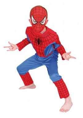 Spiderman-Premium - Overall+Stoffmaske - blau, rot - Kinder Kostüm - 2 Teile - Rubie's
