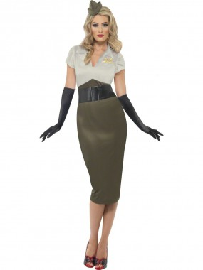 Army Pin-up - Kleid+Hut - khaki - Kostüm - 2 Teile - Smiffy's