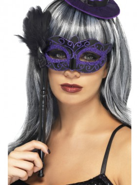 Hexen Augenmaske - mit Stock - violett/schwarz - Masken - 1 Teil - Smiffy's