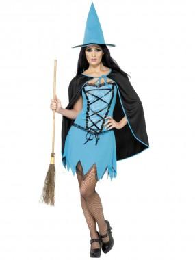 Blaue Hexe - Kleid+Cape+Hut - blau, schwarz - Kostüm - 3 Teile - Smiffy's