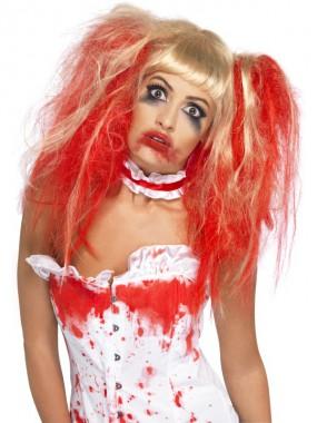 Blutige Perücke - blond - blond/rot - Perücken - 1 Teil - Smiffy's