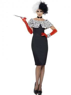 Cruella De Vil - Kleid+Handschuhe+Zubehör - schwarz/weiß/rot - Kostüm - 1 Teil - Smiffy's