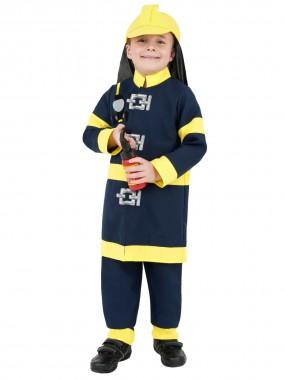 Feuerwehrjunge - Oberteil+Hose+Mütze - dunkelblau - Kinder Kostüm - 3 Teile - Smiffy's