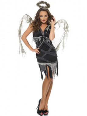 Gefallener Engel - Kleid - grau - Kostüm - 1 Teil - Smiffy's