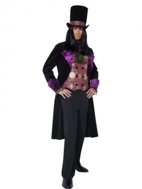 Gothic Graf - Weste+Jacke+Hut - violett/schwarz - Kostüm - 3 Teile - Smiffy's