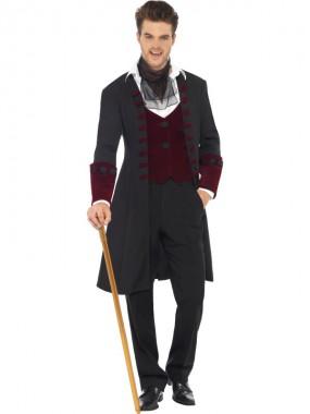 Gothic Vampir - Mantel+Weste+Halstuch - rot/schwarz - Kostüm - 3 Teile - Smiffy's