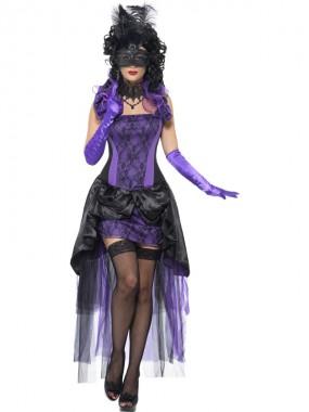 Gräfin - Oberteil+Rock+Zubehör - violett/schwarz - Kostüm - 3 Teile - Smiffy's