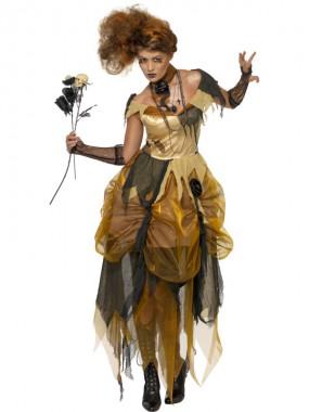 Heruntergekommene Schöne - Kleid+Kette - braun - Kostüm - 2 Teile - Smiffy's