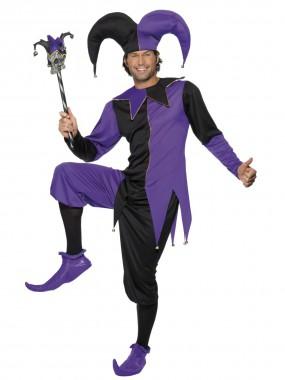 Hofnarr - Top+Hose+Hut - schwarz, lila - Kostüm - 3 Teile - Smiffy's