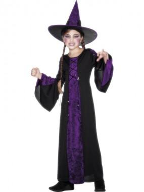 Kleine Hexe - Kleid+Hut - violett/schwarz - Kinder Kostüm - 2 Teile - Smiffy's