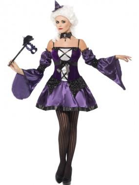 Maskeraden Hexe - Kleid+Ärmel+Hut - violett - Kostüm - 3 Teile - Smiffy's