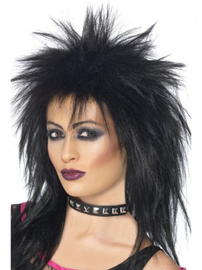 Rockerbraut - Perücke - schwarz - Perücken - 1 Teil - Smiffy's