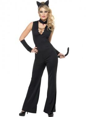 Pussy Cat - Anzug+Armstulpen+Zubehör - schwarz - Kostüm - 4 Teile - Smiffy's