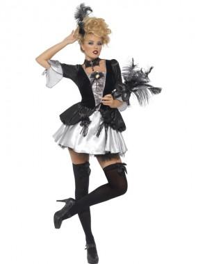 Sexy Barock Dame - Kleid - silber/schwarz - Kostüm - 1 Teil - Smiffy's