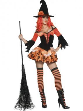 Sexy Hexe - Kleid+Hut - orange/schwarz - Kostüm - 2 Teile - Smiffy's