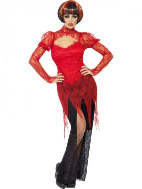 Sexy Vampir - Kleid - rot/schwarz - Kostüm - 1 Teil - Smiffy's