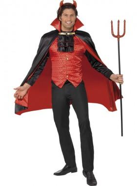 Teufel - Weste+Umhang+Zubehör - rot/schwarz - Kostüm - 3 Teile - Smiffy's