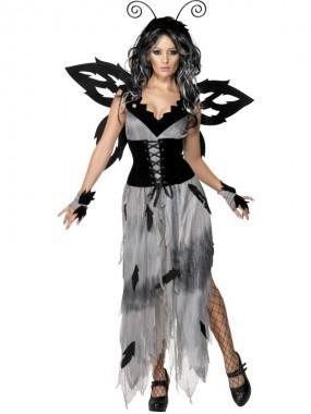 Unheimliche Waldfee - Kleid+Corset+Zubehör - grau/schwarz - Kostüm - 5 Teile - Smiffy's