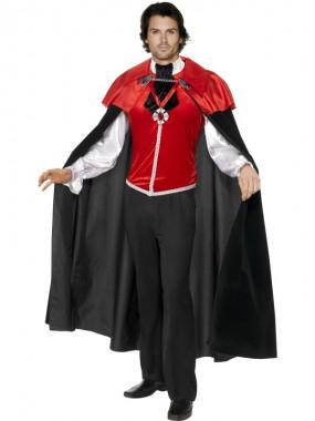 Vampir - Oberteil+Umhang - rot/schwarz - Kostüm - 2 Teile - Smiffy's