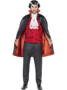 Vampirkönig - Hose+Weste+Umhang - rot/schwarz - Kostüm - 3 Teile - Smiffy's