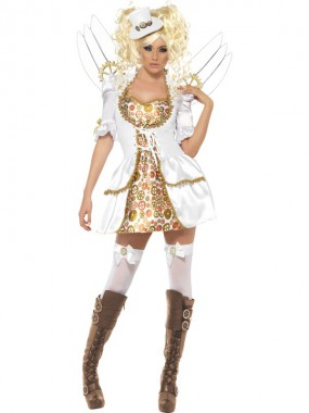 Viktorianischer Engel - Kleid+ Flügel+Hut - weiß/braun - Kostüm - 3 Teile - Smiffy's