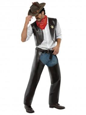 Village People-Cowboy - Weste+Überhosen+Halstuch+Sheriffstern - dunkelbraun - Kostüm - 4 Teile - Smiffy's