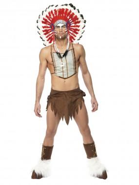 Village People-Indianer - Kopfschmuck+Schurz+Stulpen+Brustschmuck - braun - Kostüm - 4 Teile - Smiffy's