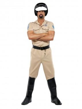 Village People-Polizist - Hemd+Hose+Helm+Gürtel+Stiefelcover - beige - Kostüm - 5 Teile - Smiffy's
