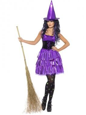 Violette Hexe - Kleid+Hut - violett/schwarz - Kostüm - 2 Teile - Smiffy's
