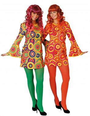 Hippiekleid Music - pink/grün, orange/gelb - Kostüm - 1 Teil - Orlob Karneval